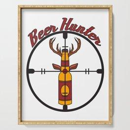 Beer bottle hunter hunting deer  antler crosshair gift idea drink bar party Serving Tray