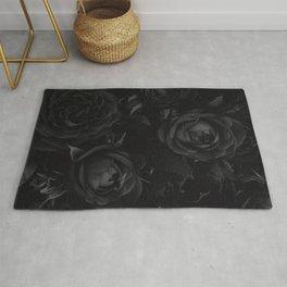 Black Rose Pattern Rug