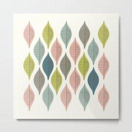 Mid Century Leaf Pattern Pastel Metal Print