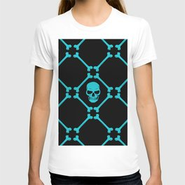 Skull and bones teal on black T-shirt