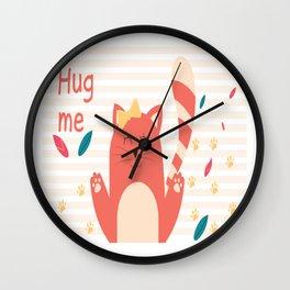 Cat Hug me Wall Clock