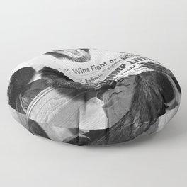 Space Chimp Lives - NASA Moon Flight black and white photograph Floor Pillow