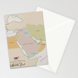 Illustrated map of the Middle East Stationery Cards