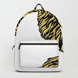 Golden Lion Head Logo Design Backpack