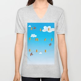 Clouds and Birds Unisex V-Neck