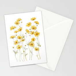 Yellow Cosmos Flowers Stationery Cards
