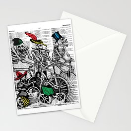 Calavera Cyclists | Skeletons on Bikes | Day of the Dead | Dia de los Muertos | Dictionary Text | Stationery Cards