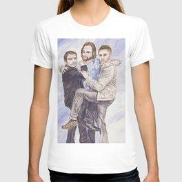 Team Free Will: Misha Collins; Jared Padalecki and Jensen Ackles, watercolor painting T-shirt