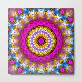 Pink blue kaleidoscope mandala ethnic popular decor Metal Print