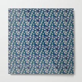 Vintage blue ceramic tiles wall decoration Metal Print
