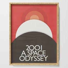 2001 A Space Odyssey - Stanley Kubrick minimalist movie poster, Red Version, fantasy film Serving Tray