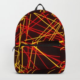 Neon Abstract Line -Red and Yellow, Black- Backpack