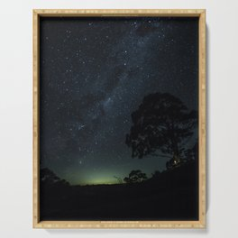 Landscape Photography Milky Way Galaxy Night Sky Stars Tree Silhouette Green Blue Ombre Sky Serving Tray