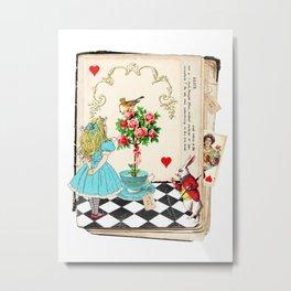 Alice's Book Alice in Wonderland Metal Print