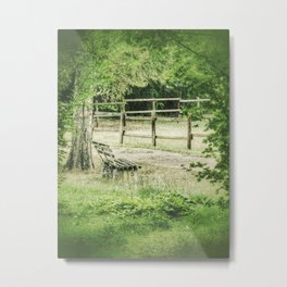 Dreamy park view to a lonely old wooden bench Metal Print