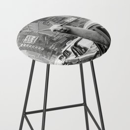 Llama Riding in Taxi, Black and White Vintage Print Bar Stool