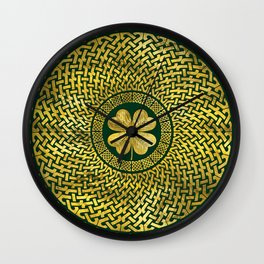 Irish Four-leaf clover with Celtic Knot Wall Clock
