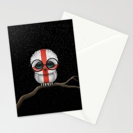 Baby Owl with Glasses and English Flag Stationery Cards