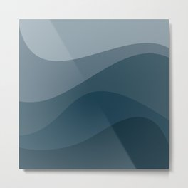 Abstract Color Waves - Blue Palette Metal Print