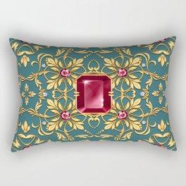 Seamless golden pattern with ruby Rectangular Pillow