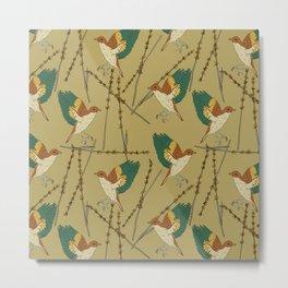 Natures Flying Bird Pattern Design Metal Print