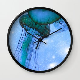 Blue Glow Jelly Fish Wall Clock