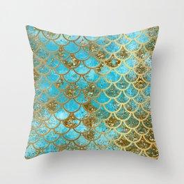 Aqua Teal & Gold Glitter MermaidScales - Mermaid Scales And Sea Foam Throw Pillow