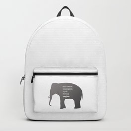Elephant with Text - Self Aware Intelligent Loyal Strong Vegan Backpack
