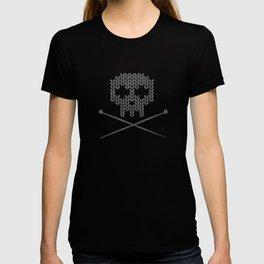 Knitted Skull (White on Grey) T-shirt