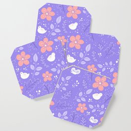 Cute bird and flower pattern Coaster