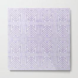 Nappy Faux Velvet Framed Wicker Repeat in Lilac Metal Print