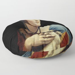 Leonardo da Vinci - The Lady with an Ermine Floor Pillow