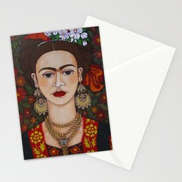 Frida with butterflies Stationery Cards