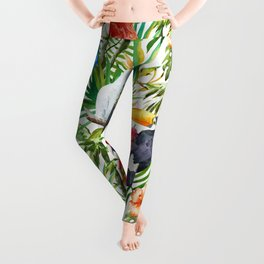 Tropical Birds Palm Trees Pattern Leggings