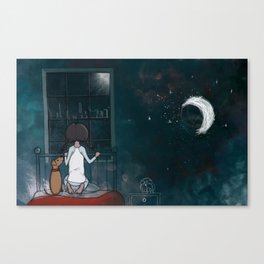 Looking out the window for Santa Canvas Print