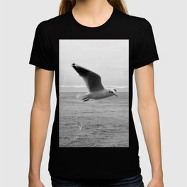 black and white flying birds on the sea T-shirt