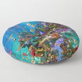 A Mermaid in Poseiden's Realm Floor Pillow