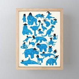 Blue Animals Black Hats Framed Mini Art Print
