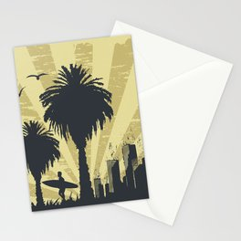 Sunny beach with palm surfer in Hawaii Stationery Cards