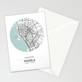 Manila Philippines City Map with GPS Coordinates Stationery Cards