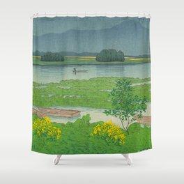 Kawase Hasui Vintage Japanese Woodblock Print Flooded Asian Rice Field Mountain Parallax Landscape Shower Curtain