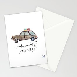 Adventure Awaits.  Watercolor and Typography.  Travel. Adventure Stationery Cards
