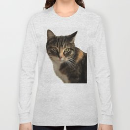 Tabby Cat With Ear Turned Sideways Long Sleeve T-shirt