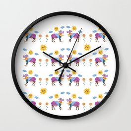 Quirky colorful cow animals folk art vibrant pattern  Wall Clock