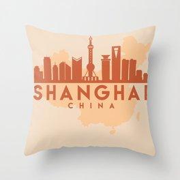 SHANGHAI CHINA CITY MAP SKYLINE EARTH TONES Throw Pillow