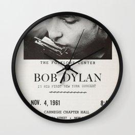Vintage 1961 Bob Dylan Carnegie Hall Folk Festival Concert Gig Poster Wall Clock