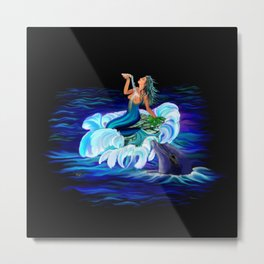 Mermaid with Dolphin Metal Print