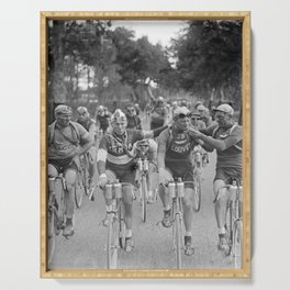 Tour De France - Vintage Photograph Cigarette Break Serving Tray