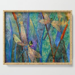 Colorful Dragonflies Serving Tray