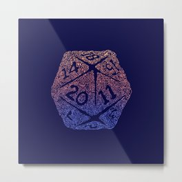 d20 - peach over navy blue - icosahedron for nerds  Metal Print